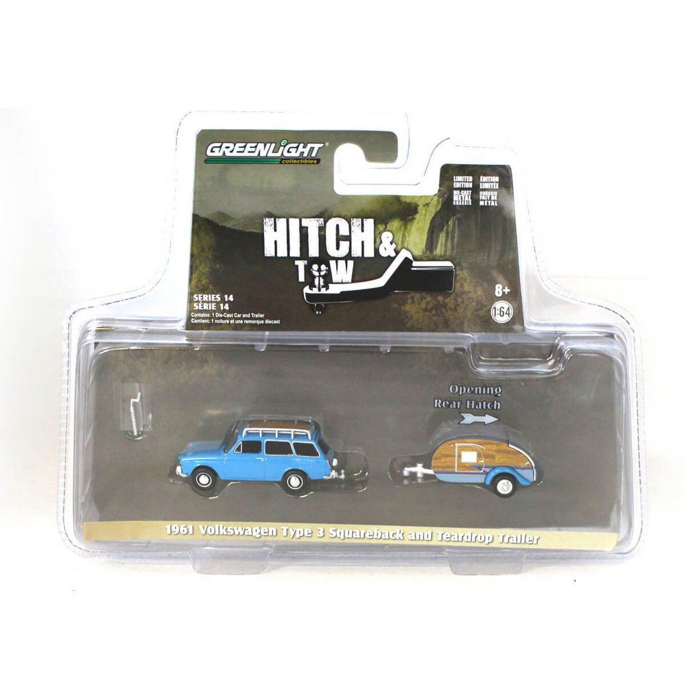 Miniatura Volkswagen Type 3 Squareback 1961 e Trailer Hitch & Tow Serie 14 1/64 Greenlight