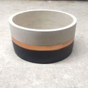 Cachepot de Cimento Preto/Cobre