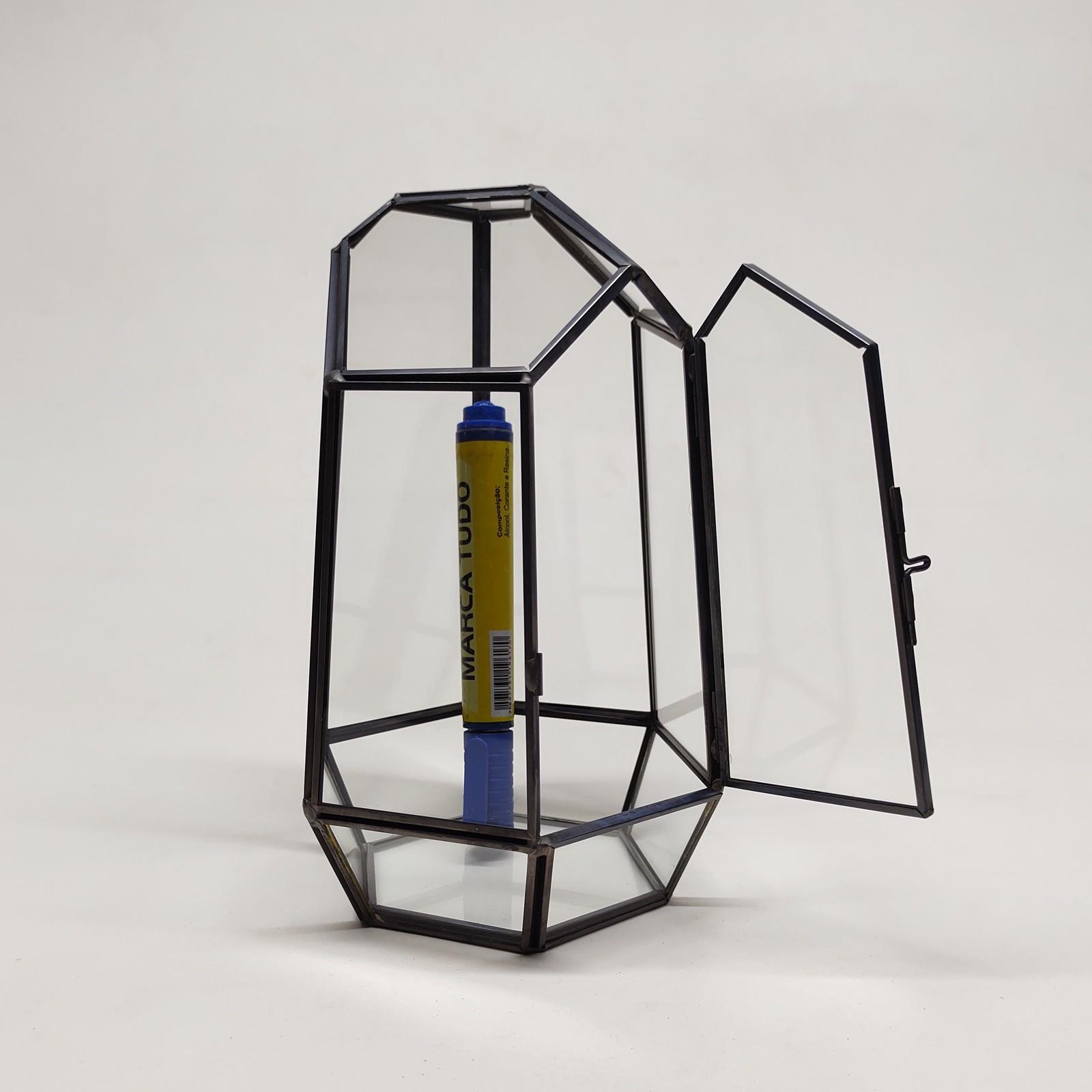 Cachepot Vidro Metal para Terrário 6005