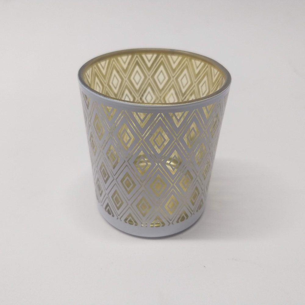 Castiçal de Vidro Branco Dourado