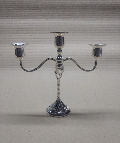 Castiçal para 03 velas prateado