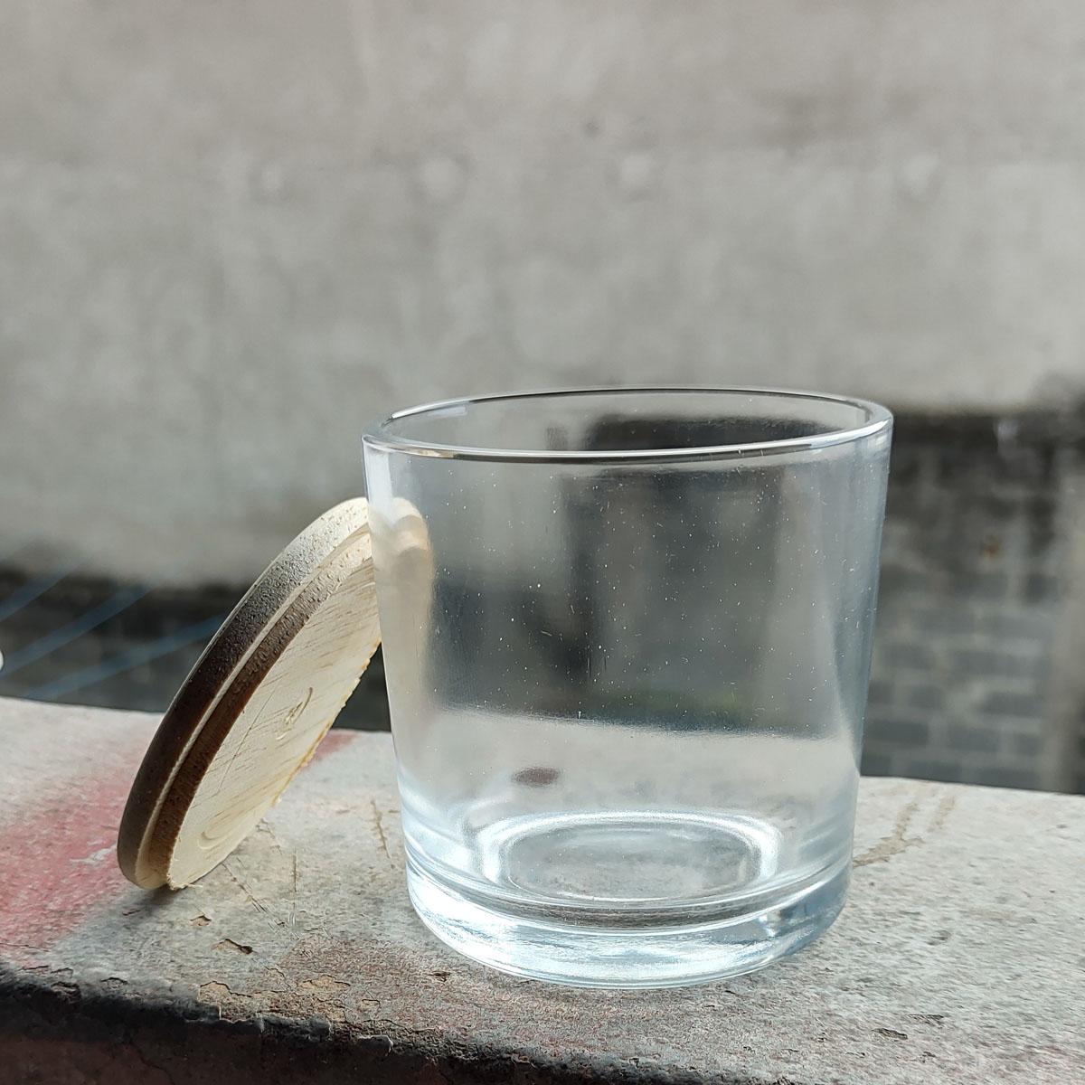 Copo de Vidro Com Tampa de Madeira Para Vela 265ml - 6 unid
