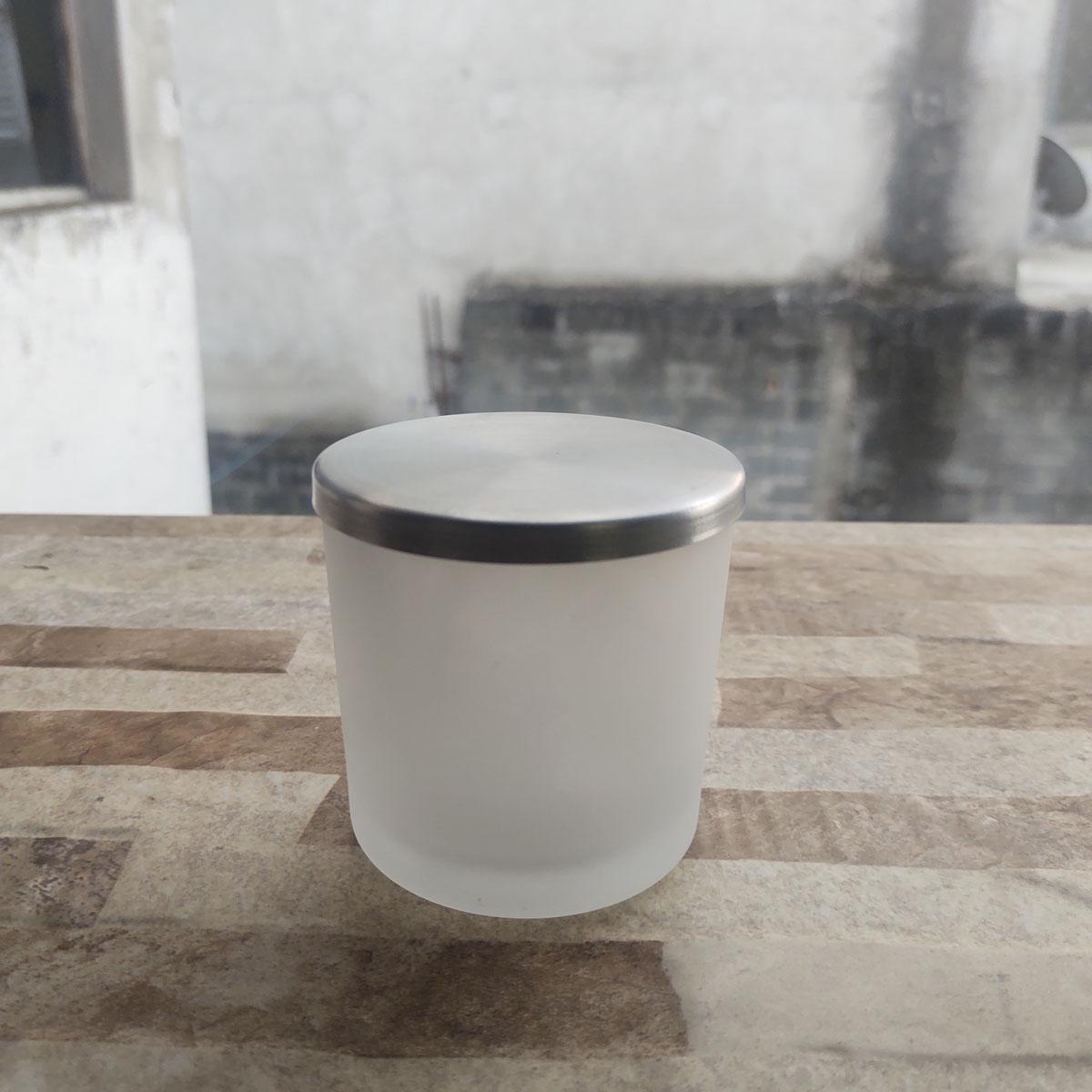 Copo de Vidro Para Vela 265ml Jateado C/ Tampa de Aluminio - 6 uni