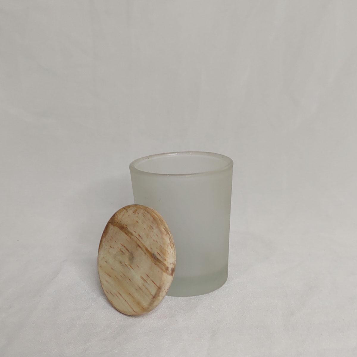 Copo de Vidro Para Vela 70 ml Jateado C/ Tampa de Madeira - 6 unidades