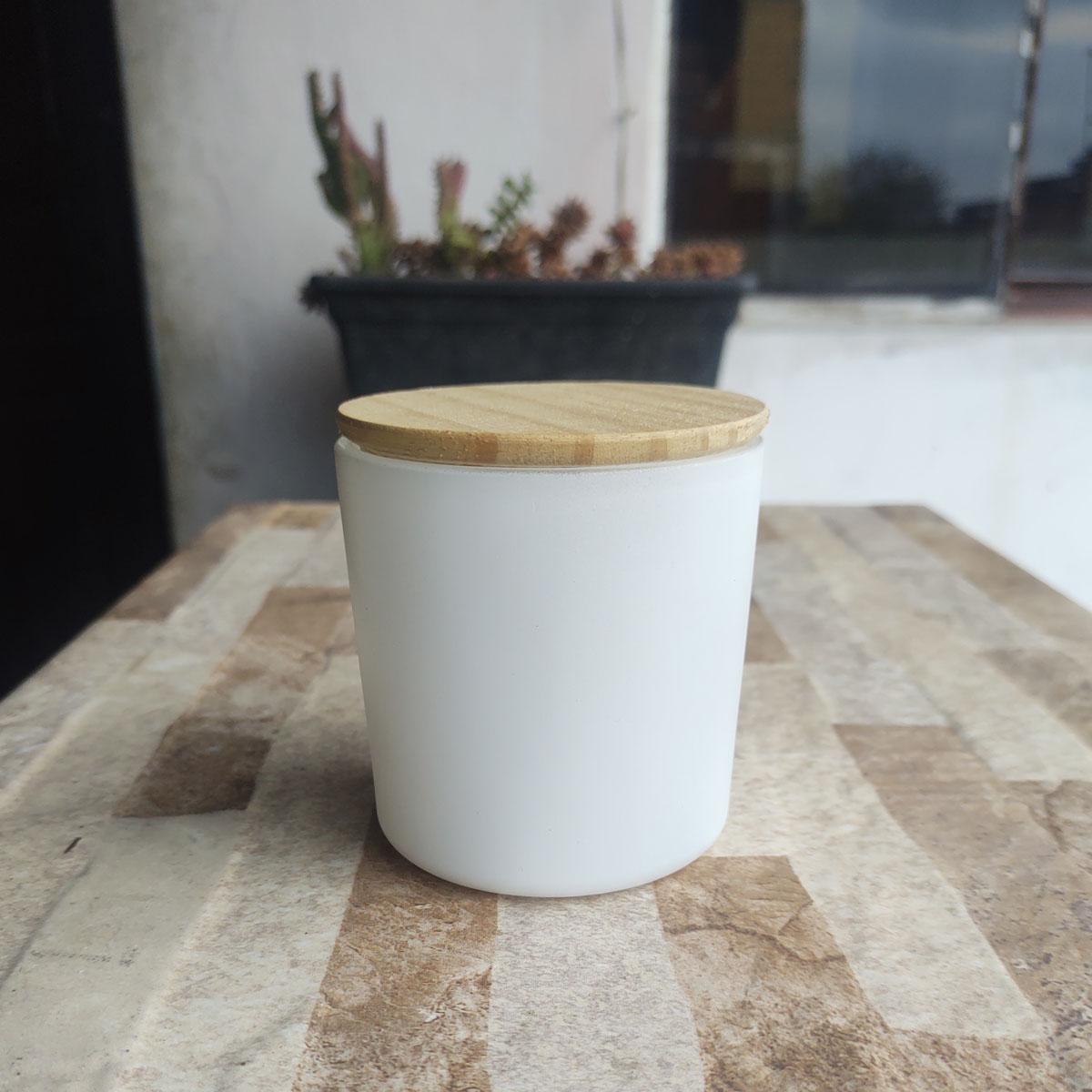 Copo Para Vela 265ml Vidro Branco Com Tampa de Madeira - 6 uni