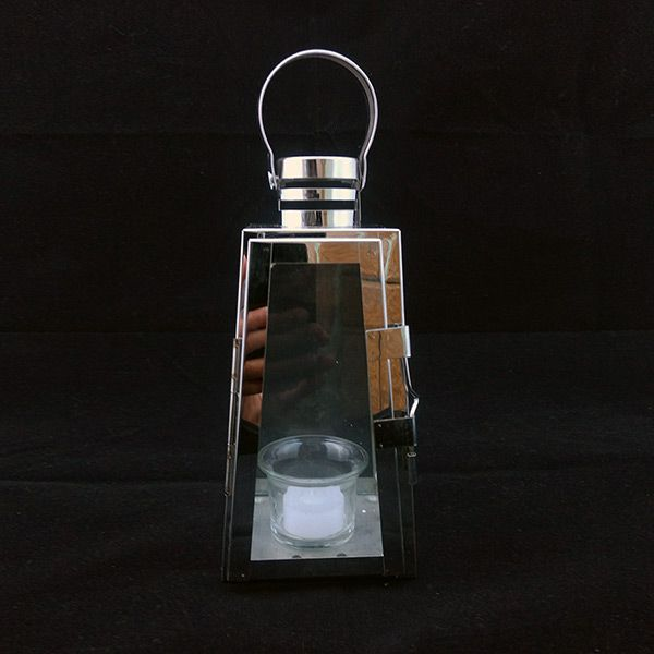 Lanterna Decorativa Pirâmide Inox