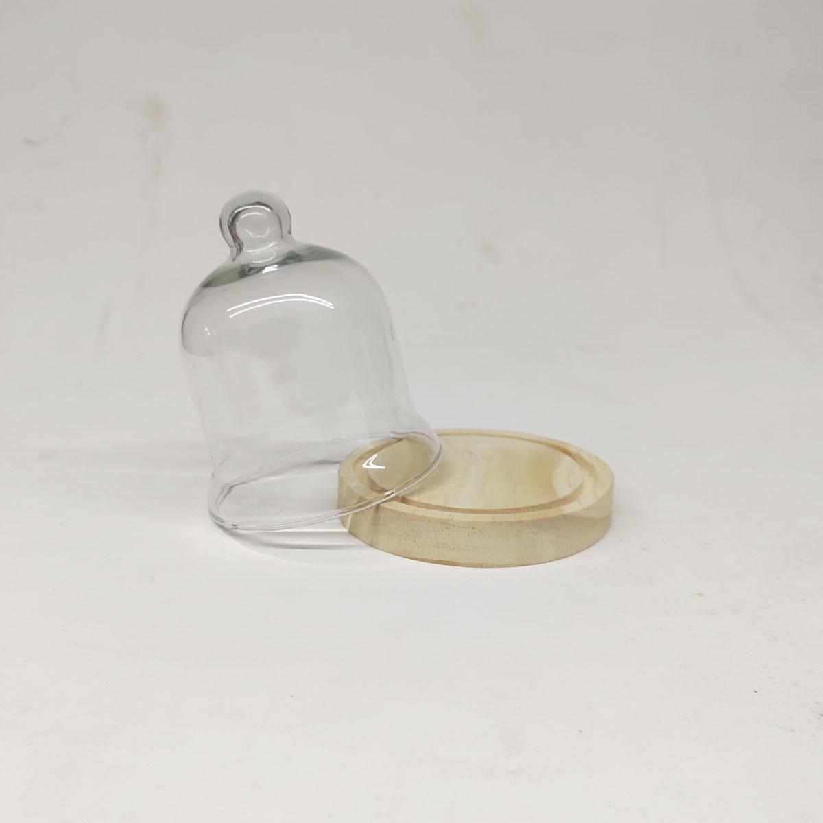 Mini Redoma de Vidro com Base de Madeira