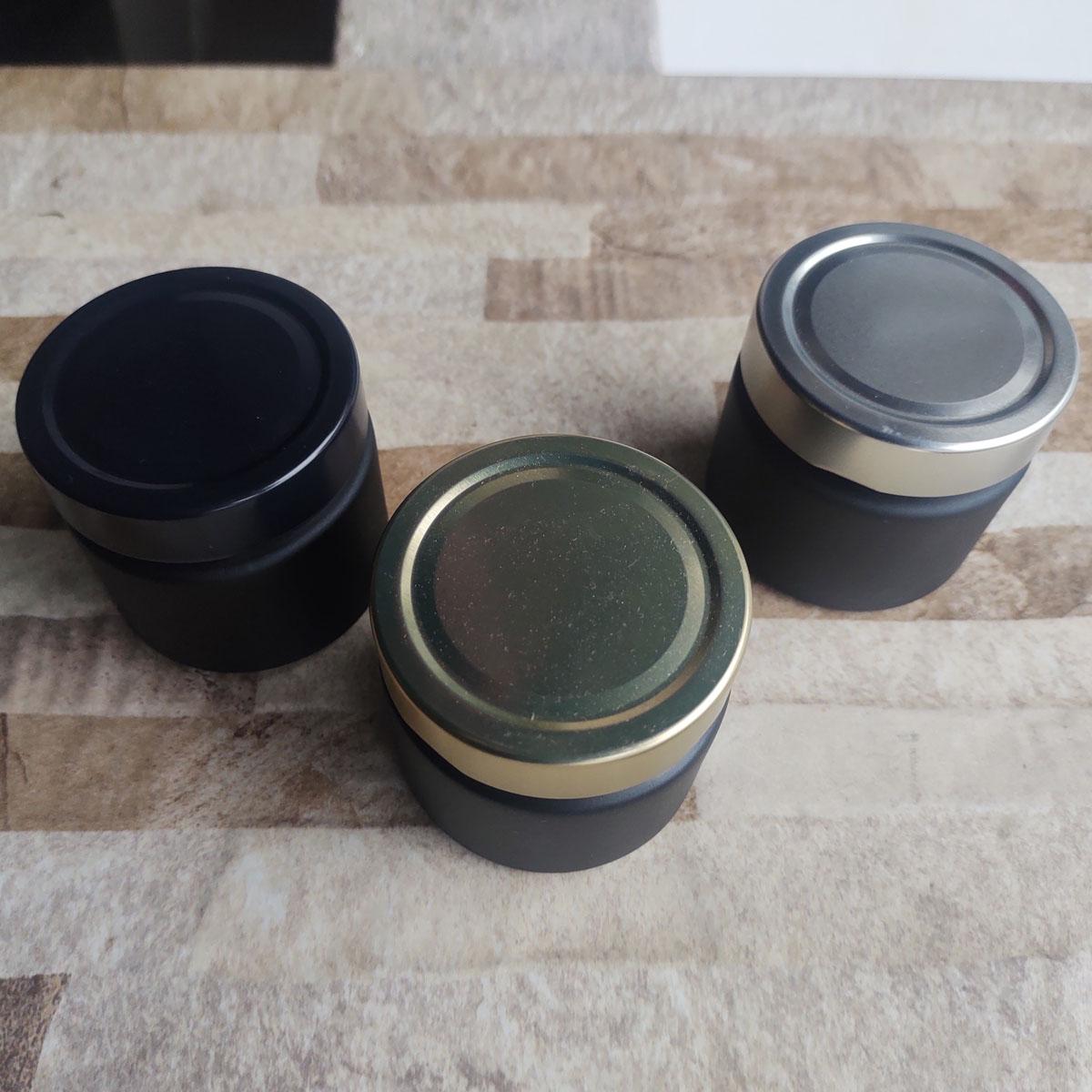 Pote de Vidro La Pianezza 210 ml C/ Tampa Jateado Preto - cx 10 uni.