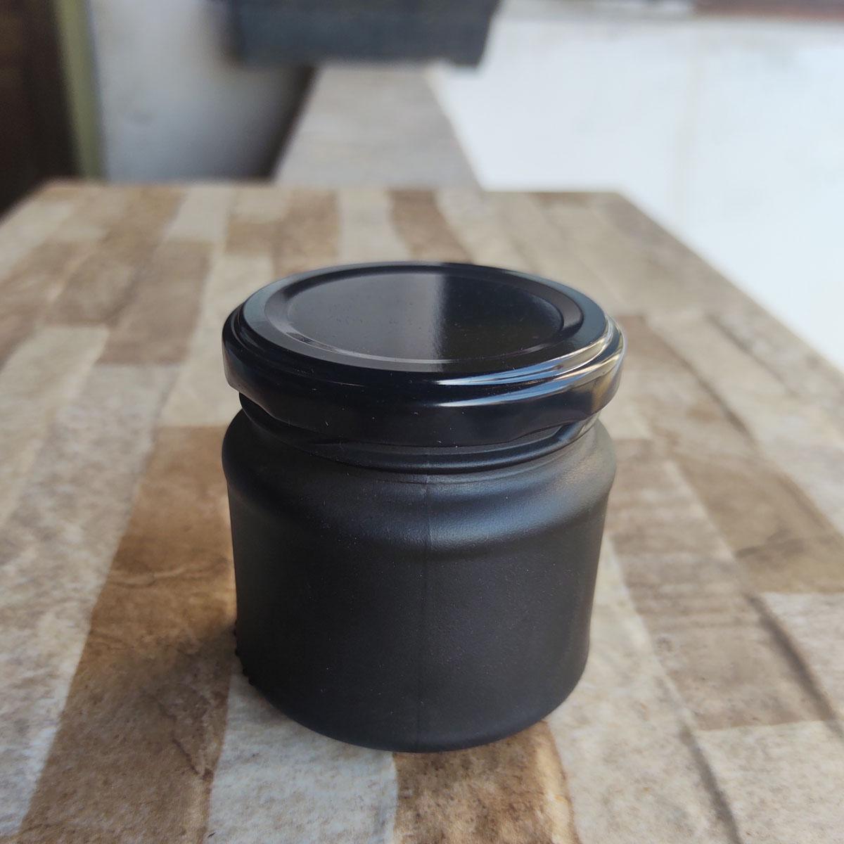 Pote de Vidro Mini Belém 150 ml C/ Tampa Jateado Preto - cx 10 uni.