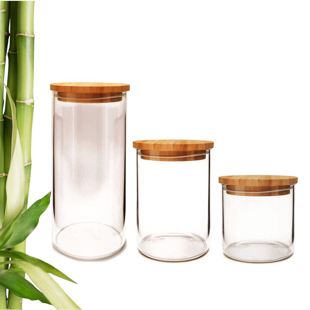 Pote de Vidro para Terrário C/ Tampa Bambu