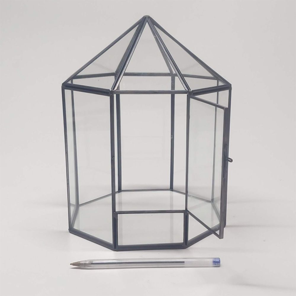 Vaso Cachepot Orquidário de Vidro Metal