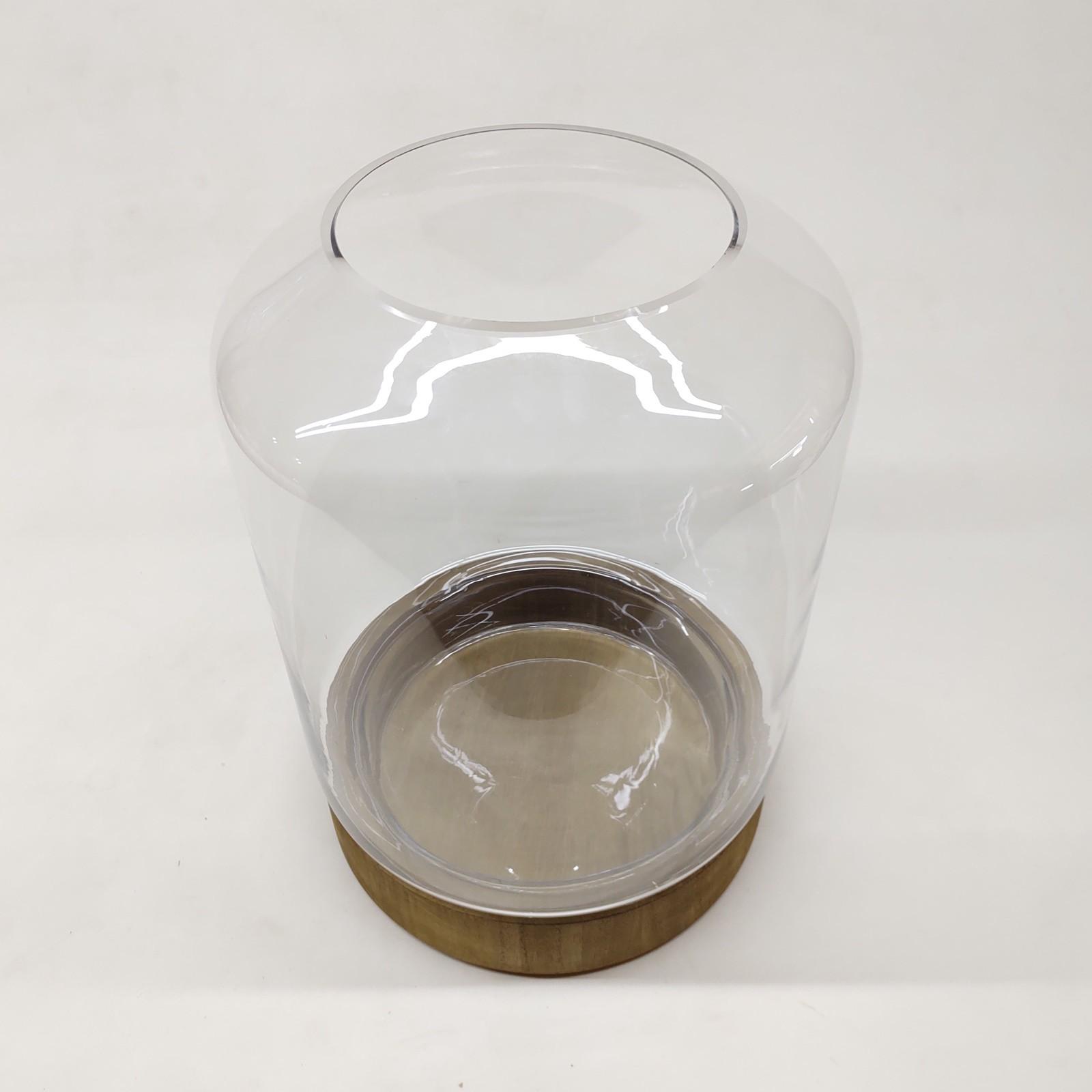 Vaso de Vidro Atla Com Base de Madeira