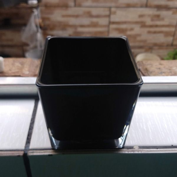 Vaso de Vidro Cubo 10x10 Preto