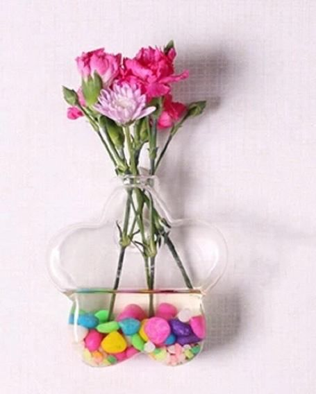 Vaso de Vidro Flor Para Parede