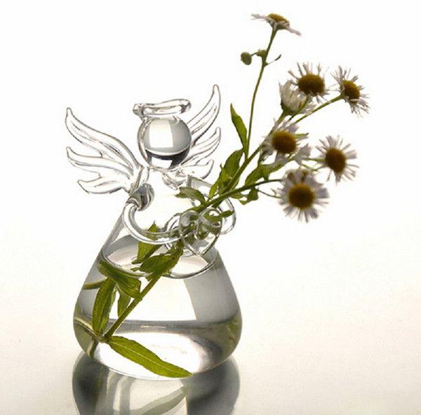 Vaso de Vidro Pendente Anjo Para Flores