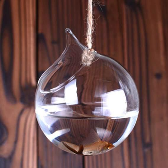 Vaso de Vidro Pendente Bocal Para Suculentas