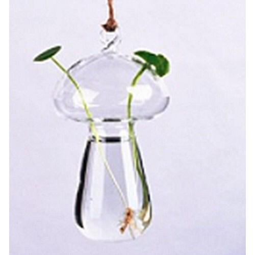 Vaso de Vidro Pendente Cogumelo Para Flores