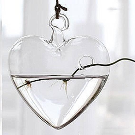 Vaso de Vidro Pendente Coração Para Flores