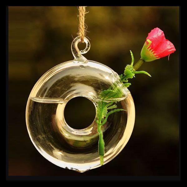 Vaso de Vidro Pendente Donuts Para Flor