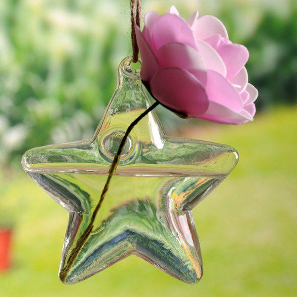 Vaso de Vidro Pendente Estrela Para Flores