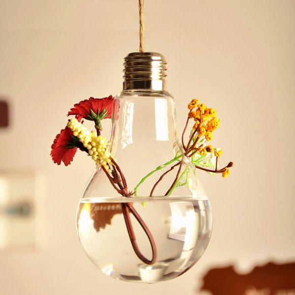 Vaso de Vidro Pendente Lampada Para Flores