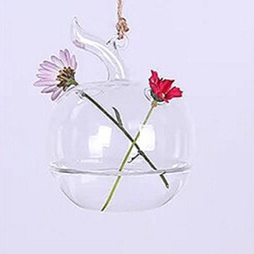 Vaso de Vidro Pendente Maça Para Flores