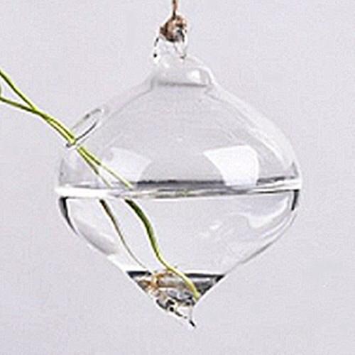 Vaso de Vidro Pendente Pião Para Flores