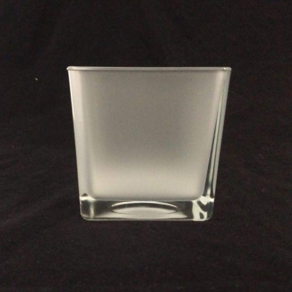 Vaso de Vidro Cubo 10x10 Jateado