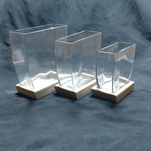 Vaso Retangular de Vidro Com Madeira