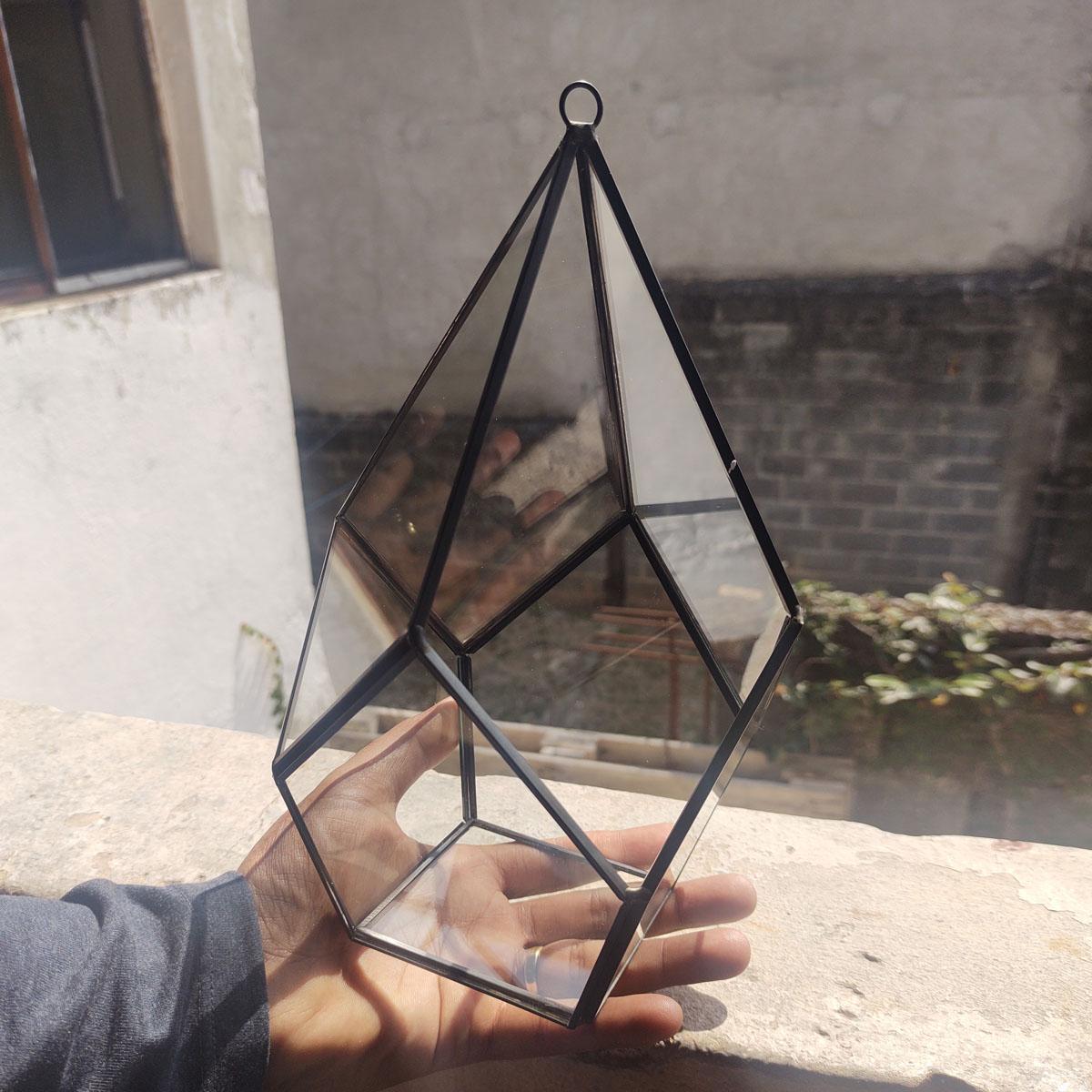 Vaso Vidro Metal para Terrário Pirâmide Geometrico