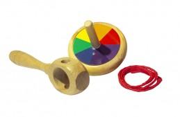 Brinquedo de madeira Pião Mágico Cores, da Fábrika dos Sonhos - Cód. FS52