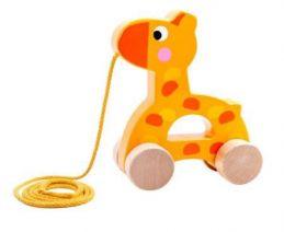 Brinquedo de madeira Girafa de Puxar, da Tooky Toy - Cód. TKC-266