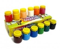Kit de 12 cores guache Acrilex + 1 pincel, para complementar alguns brinquedos.