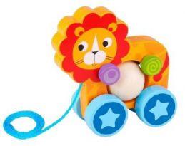 Brinquedo de madeira Leão de Puxar, da Tooky Toy - Cód. TKE-005