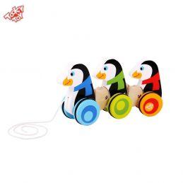 Brinquedo de madeira Pinguins de Puxar, da Tooky Toy - Cód. TKC-420
