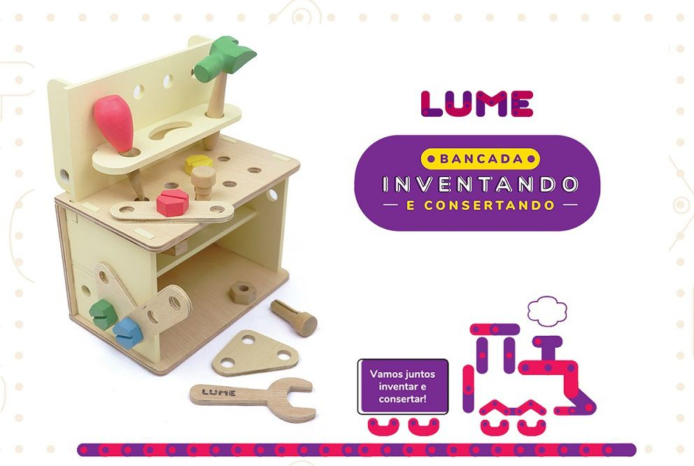 Brinquedo de madeira Bancada Inventando e Consertando, da Lume - Cód. LM-10