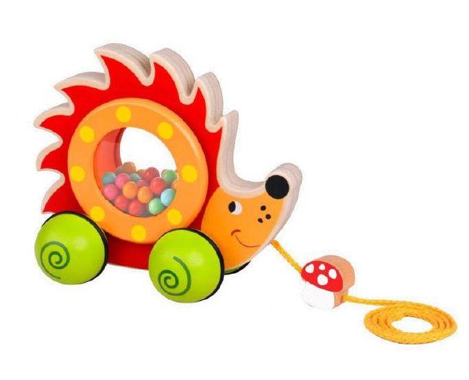 Brinquedo de madeira Bebê Ouriço de Puxar, da Tooky Toy - Cód. TKE-016