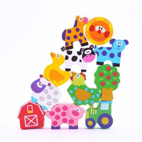 Blocos de Laço Fazenda, brinquedo de madeira da Tooky Toy - Cód. TKB510-B