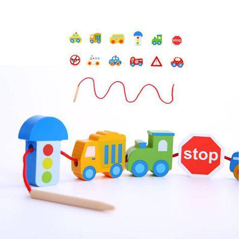 Blocos de Laço Transportes, brinquedo de madeira da Tooky Toy - Cód. TKB512-B