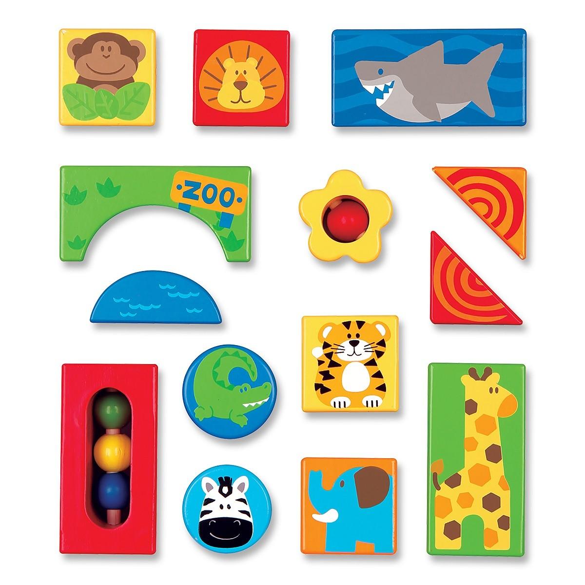 Blocos de Madeira - 14 peças Zoo, da Stephen Joseph - Cód. BB2525