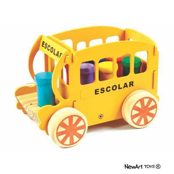 Brinquedo de madeira Bondinho Escolar, da NewArt - Cód. 202