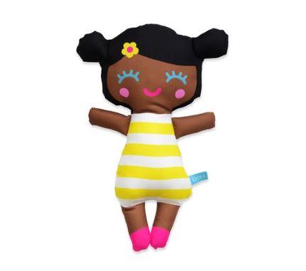Boneca Pretinha Listras Amarelo P, da Gente que Adora - Cód. GA-B03P
