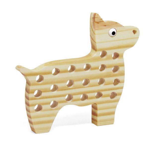 Brinquedo de madeira Alinhavo Cachorro Juca, da Pachu - Cód. P-11