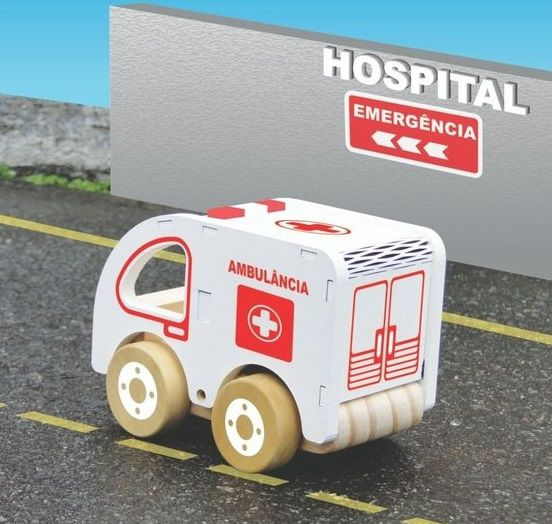 Coleção Carrinhos de Madeira - Ambulância, da NewArt - Cód. 352