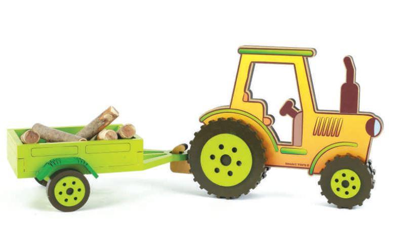 Brinquedo de madeira Coleção Fazendinha - Trator com Carretinha, da NewArt - Cód. 564