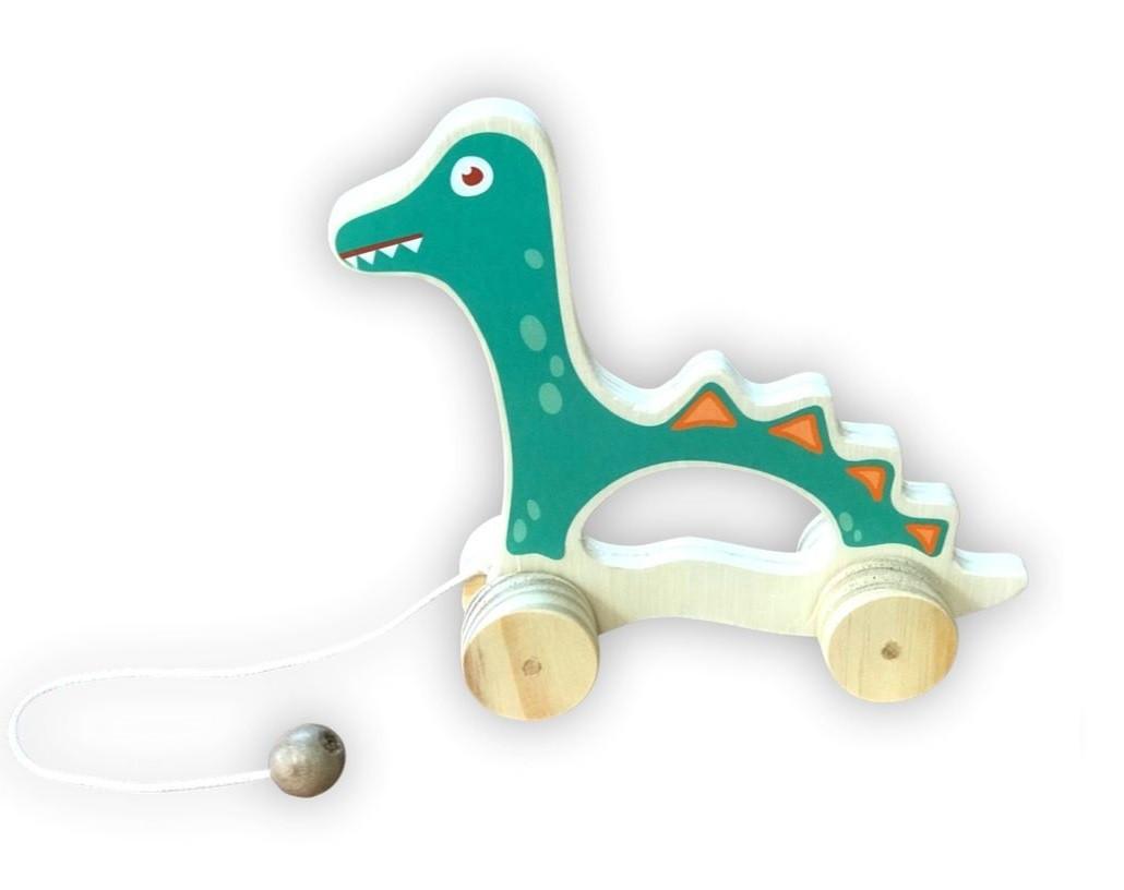 Brinquedo de madeira - Dinossauro de puxar, da Top Toy - Cód. Top-131