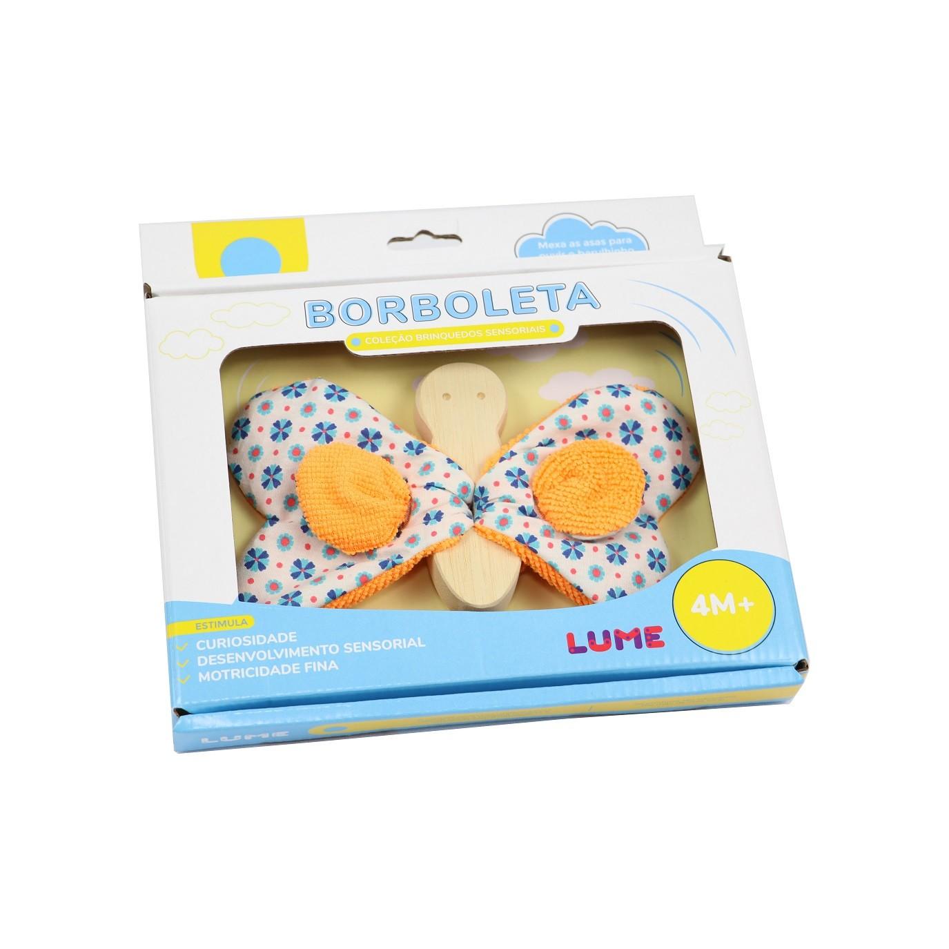 Brinquedo de madeira e tecido Brinquedos Sensoriais - Borboleta, da Lume - Cód. LM-72