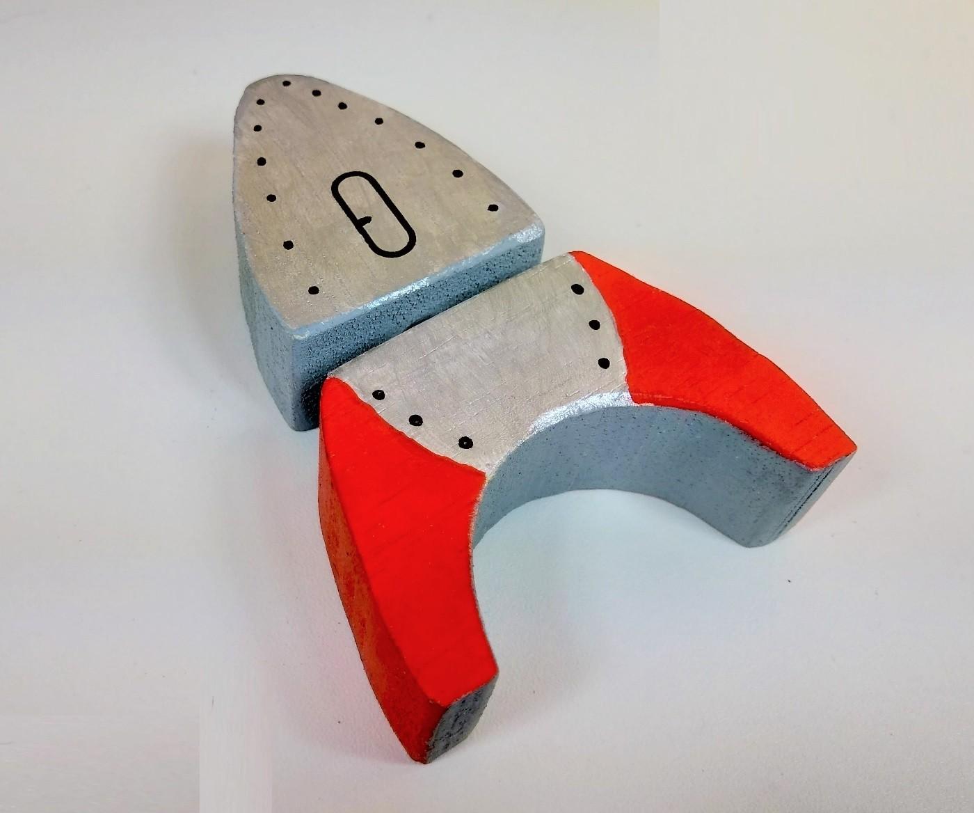 Brinquedo de madeira - Foguete de 3 Módulos Conectáveis, da Cute Cubes - Cód. CC101