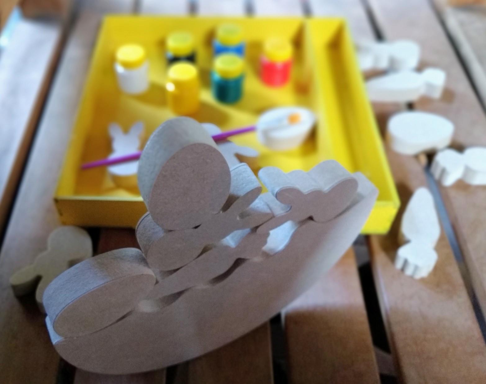 Brinquedo de madeira Jogo do Equilíbrio do Coelhinho para Colorir, da Fábrika dos Sonhos - Cód. FS24