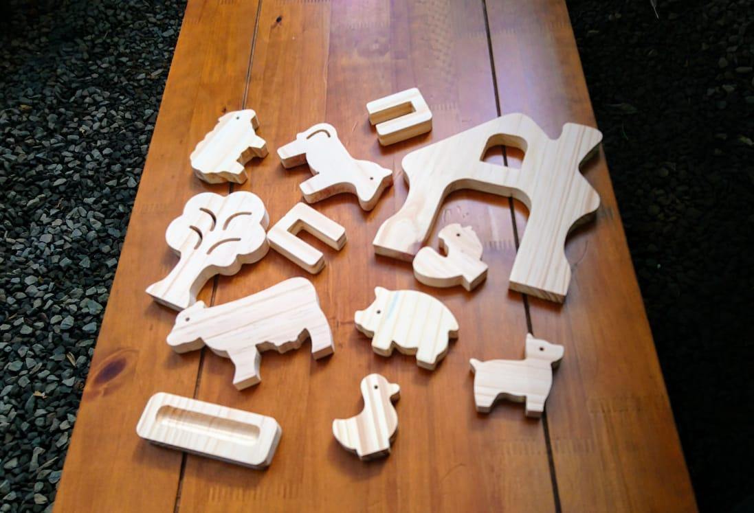 Brinquedo de madeira Kit Animais da Fazenda, da Pachu - Cód. P-13